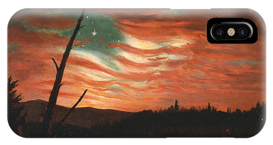Our IPhone X Case featuring the painting Our Banner In The Sky by Frederic Edwin Church