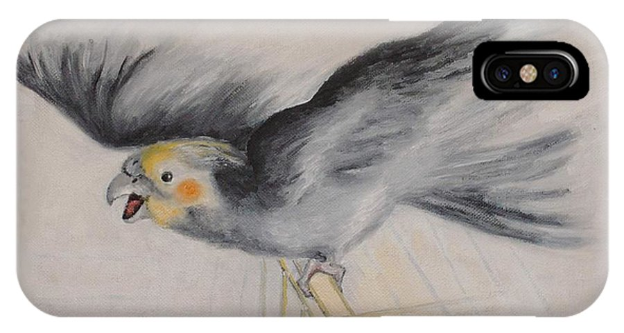 Cockatiel.pet IPhone X Case featuring the painting our cockatiel Coco by Helmut Rottler