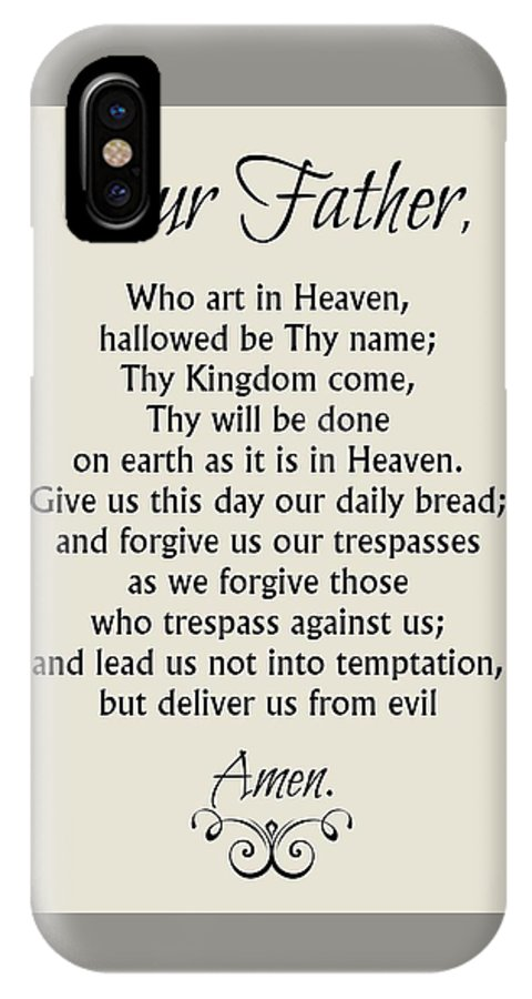 our father prayer catholic lord s prayer iphone x case for sale by