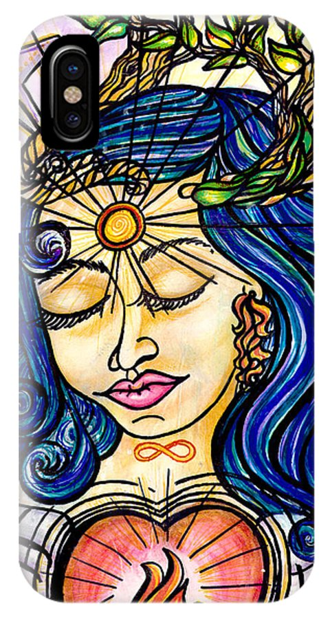 Spiritual IPhone X Case featuring the painting Our Lady Of Self Blessing by Camille Roman