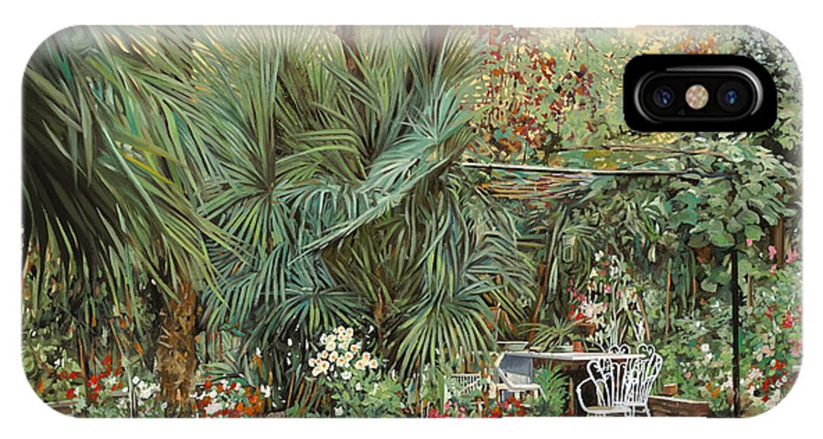 Garden IPhone X Case featuring the painting Our Little Garden by Guido Borelli
