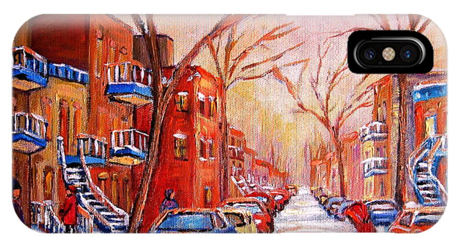 Montreal IPhone X Case featuring the painting Out For A Walk With Mom by Carole Spandau
