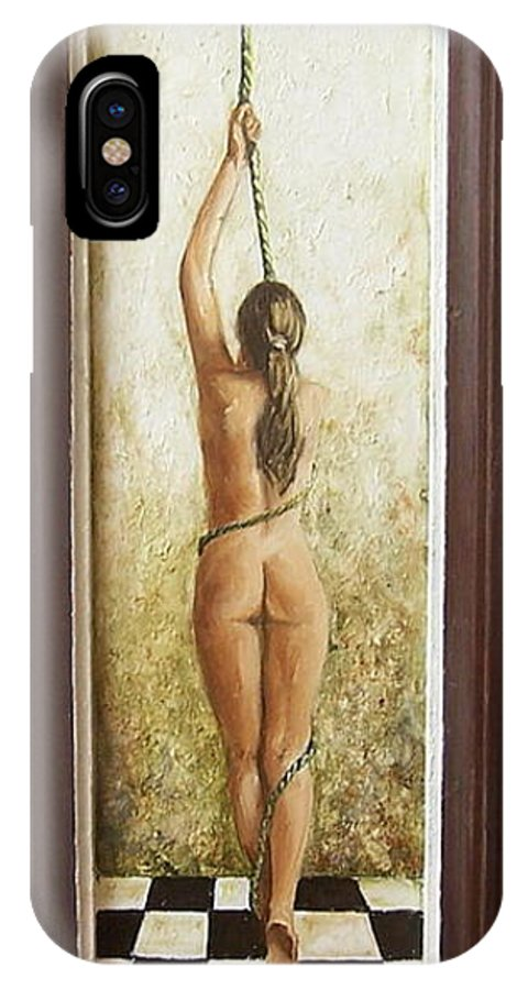 Figurative IPhone X Case featuring the painting Out Of Chess by Natalia Tejera