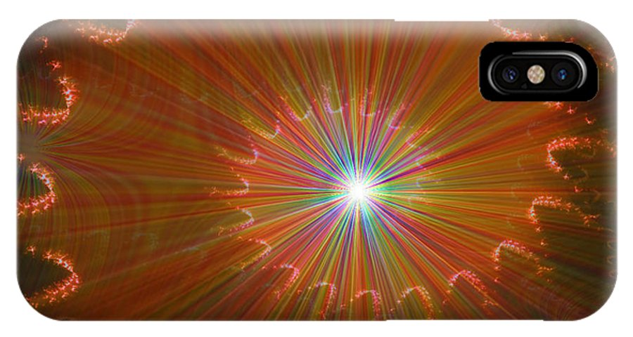 Super Nova Stars Another World Universe Abstract Spectrum Colorful IPhone X Case featuring the digital art Out Of Control by Andrea Lawrence