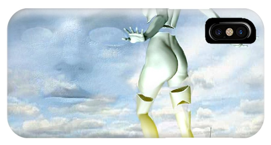 Sky Naked Woman Surreal Dance IPhone Case featuring the digital art Out Of My Mind... by Veronica Jackson