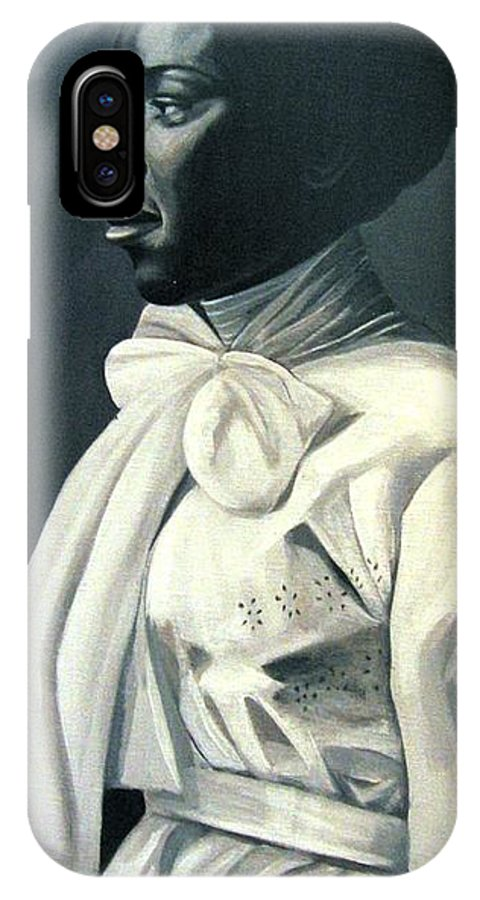 Portrait IPhone X Case featuring the painting Out Of The Box Woman In Large White Bow by Joyce Owens