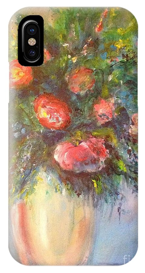 Roses IPhone X Case featuring the painting Out Of The Garden by Leslie Dobbins