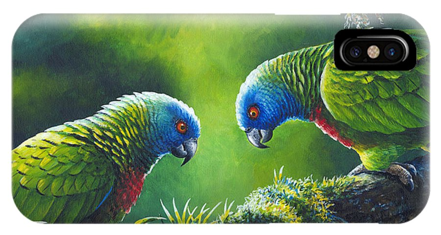 Chris Cox IPhone X Case featuring the painting Out On A Limb - St. Lucia Parrots by Christopher Cox