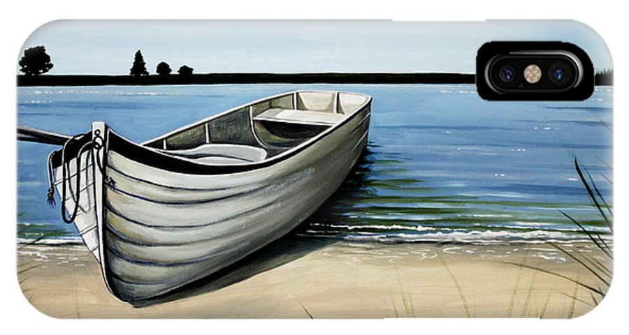 Boat IPhone X Case featuring the painting Out On The Water by Elizabeth Robinette Tyndall