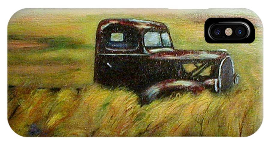 Vintage Truck IPhone X Case featuring the painting Out To Pasture by Gail Kirtz