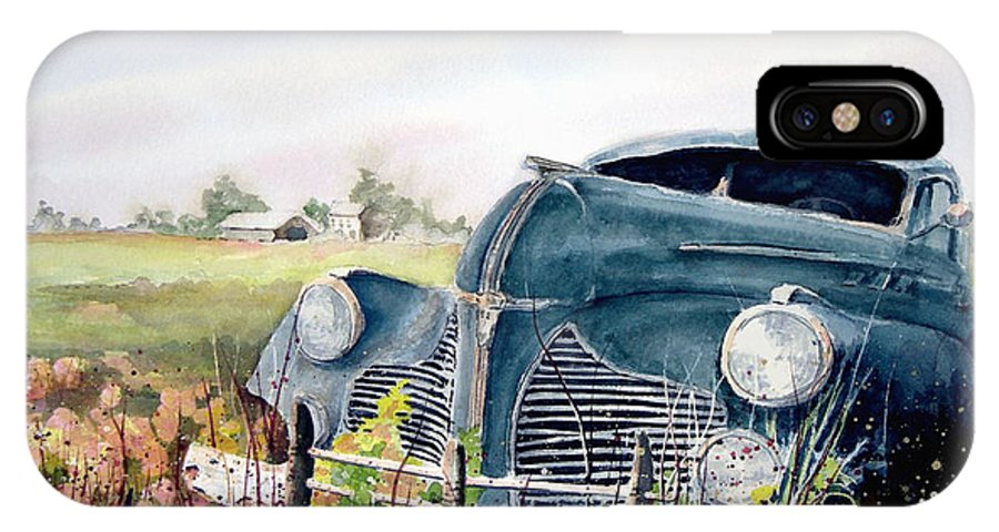 Classic Car IPhone X Case featuring the painting Out To Pasture by Sam Sidders