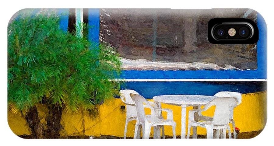Table IPhone Case featuring the painting Outdoor Cafe by Peter J Sucy