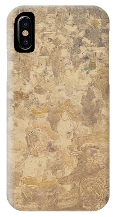 IPhone X Case featuring the drawing Outdoor Cafe Scene by Maurice Brazil Prendergast