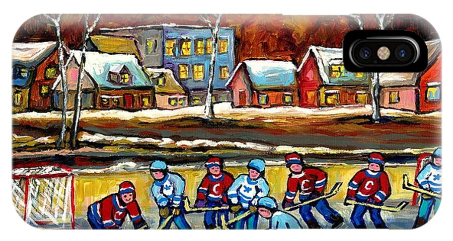 Country Hockey Rink IPhone Case featuring the painting Outdoor Hockey Rink by Carole Spandau