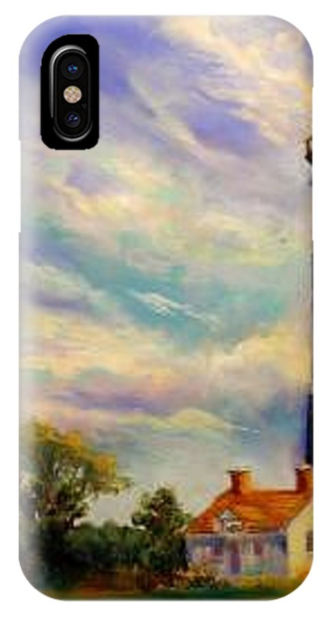 Lighthouse IPhone X / XS Case featuring the painting Outer Banks Lighthouse by Lynee Sapere