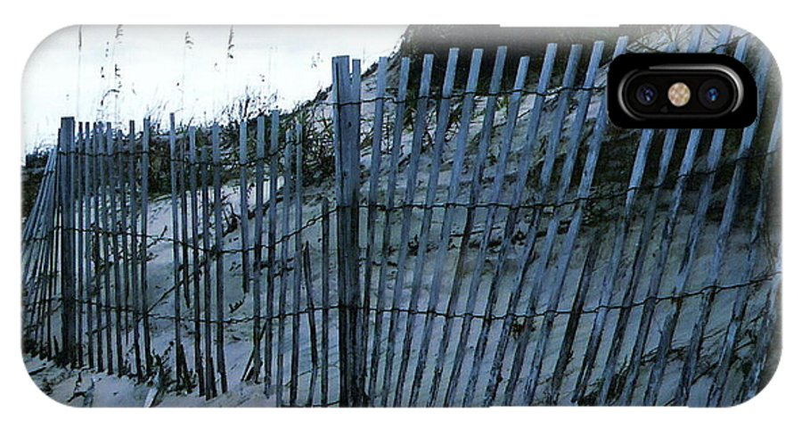Sand Dune Fence IPhone X Case featuring the photograph Outer Banks Nc Blue Fence by Oscar Duran