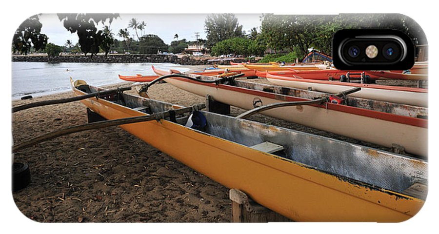 Outrigger Canoe IPhone X Case featuring the photograph Outrigger Canoes by Andy Smy