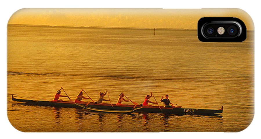 Boat IPhone X Case featuring the photograph Outrigger In Tahiti by Carl Purcell