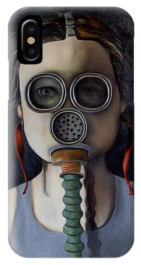 Mask IPhone X Case featuring the painting Outsider 1 by Leah Saulnier The Painting Maniac