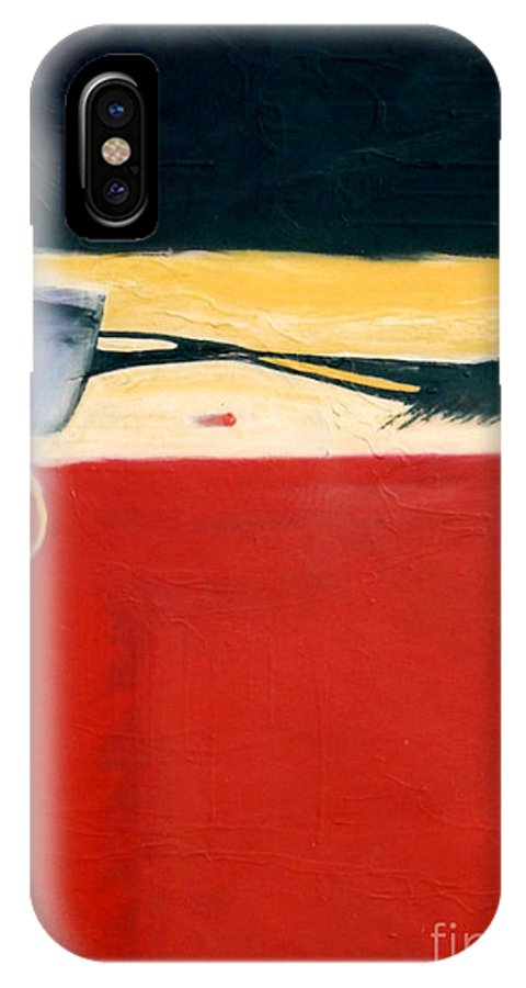 Red IPhone Case featuring the painting Over Optics by Marlene Burns