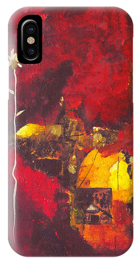 Abstract IPhone Case featuring the painting Over The Broken Fence by Ruth Palmer