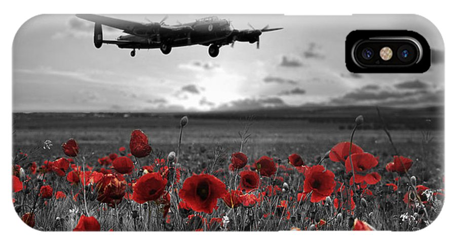 Avro Lancaster IPhone X Case featuring the digital art Over The Fields - Selective by Airpower Art