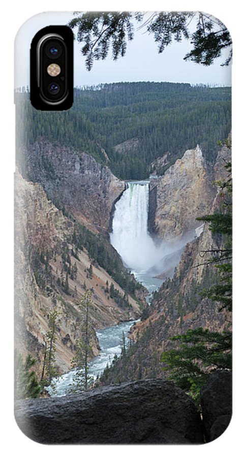Yellowstone National Park IPhone X Case featuring the photograph Over The Rail by Linda Kerkau
