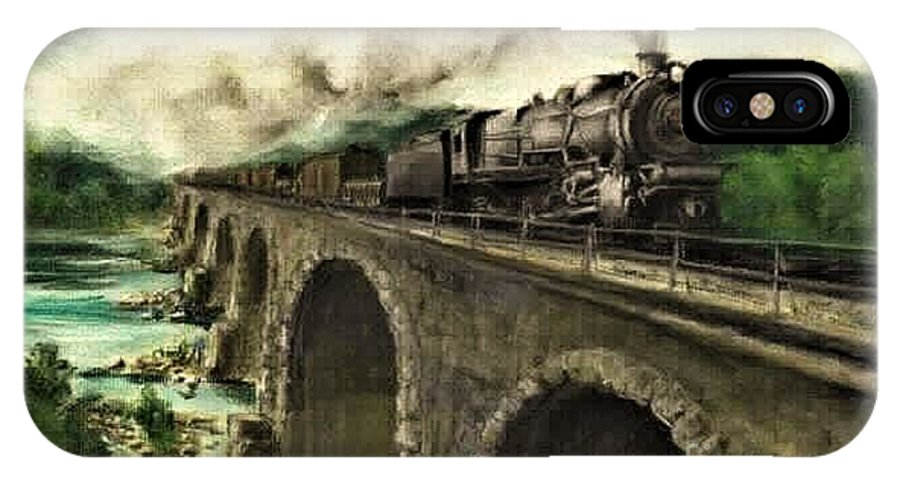 Steam Engine IPhone X Case featuring the painting Over the River by David Mittner