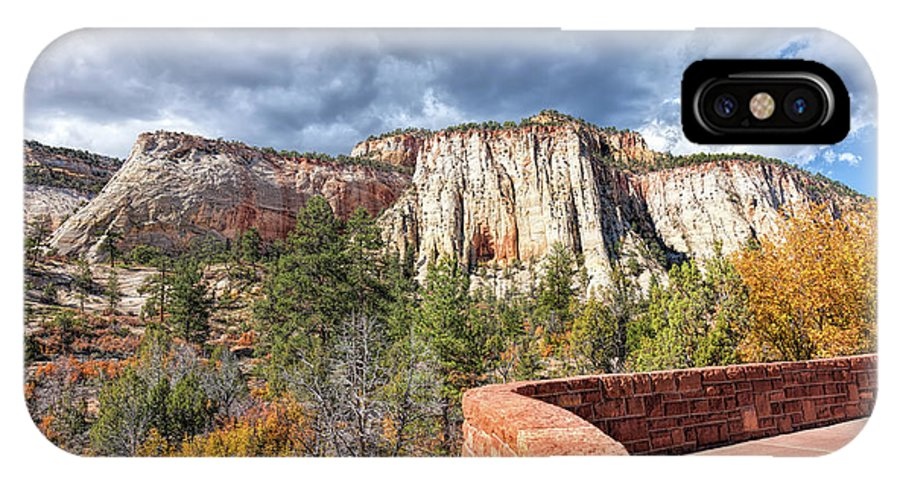 John Bailey IPhone X Case featuring the photograph Overlook In Zion National Park Upper Plateau by John M Bailey