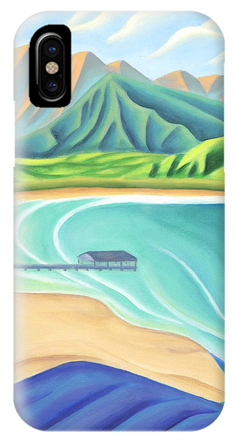 Landscape IPhone X Case featuring the painting Overlooking Hanalei Bay by Lynn Soehner