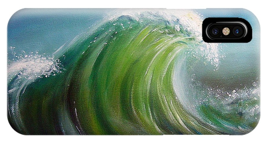 Wave Blue Green White IPhone X / XS Case featuring the painting Overpowered by Arie Van der Wijst