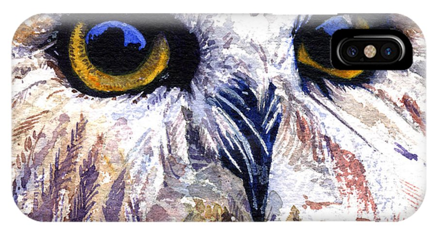 Eye IPhone X Case featuring the painting Owl by John D Benson