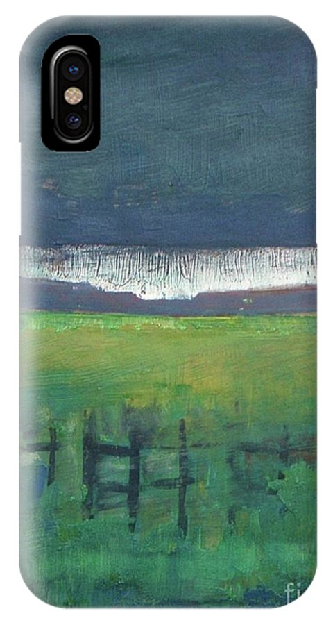 Sunset IPhone X Case featuring the painting Owl-light by Vesna Antic