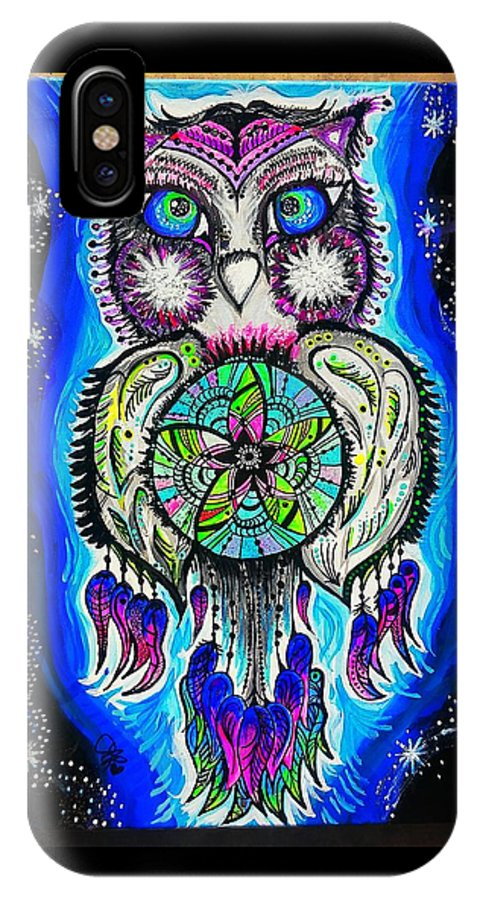 IPhone X Case featuring the painting Owl No Uv by Lauren Roland