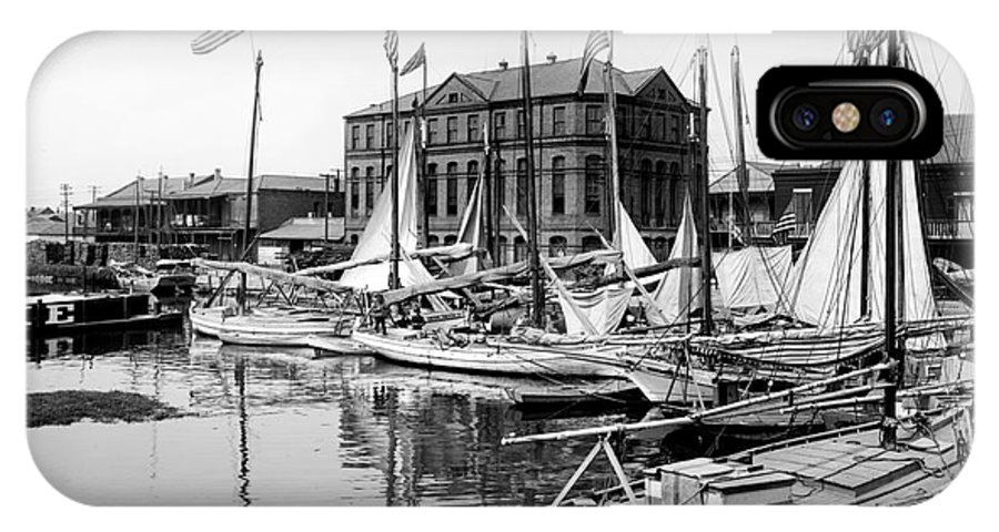 Life Boat IPhone X Case featuring the photograph Oyster And Charcoal Luggers New Orleans Ca 1910 by Jon Neidert