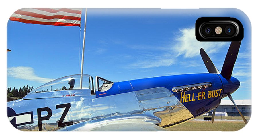 P-51 IPhone X Case featuring the photograph P-51 Hell - Er - Bust by Larry Keahey
