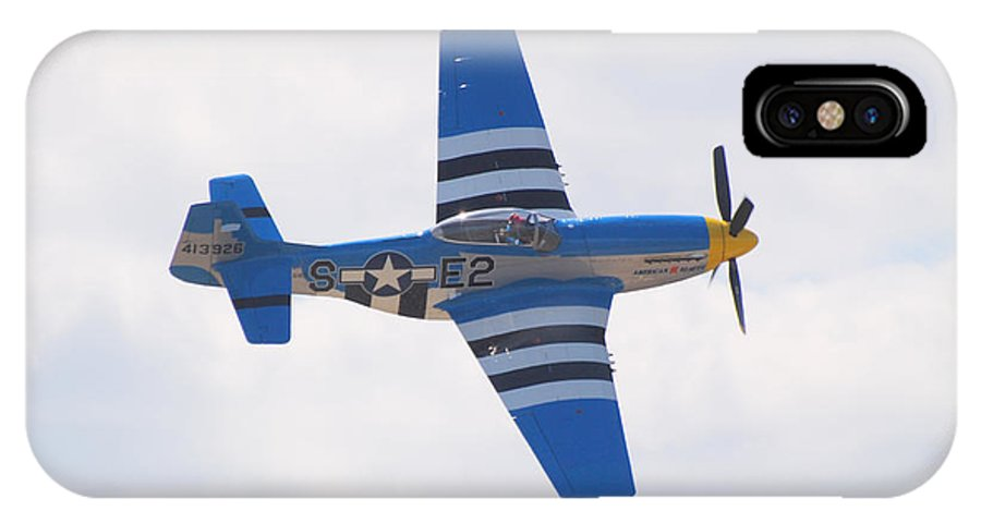 P 51 IPhone X Case featuring the photograph P-51 Mustang American Rose by Larry Keahey