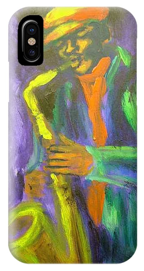 Painting IPhone X Case featuring the painting The M by Jan Gilmore