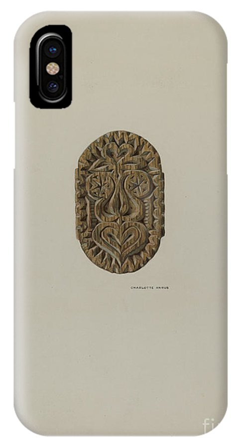 IPhone X Case featuring the drawing Pa. German Block Used In Pressing And Steaming by Charlotte Angus