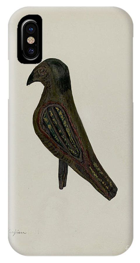 IPhone X Case featuring the drawing Pa. German Toy Bird by Charles Garjian