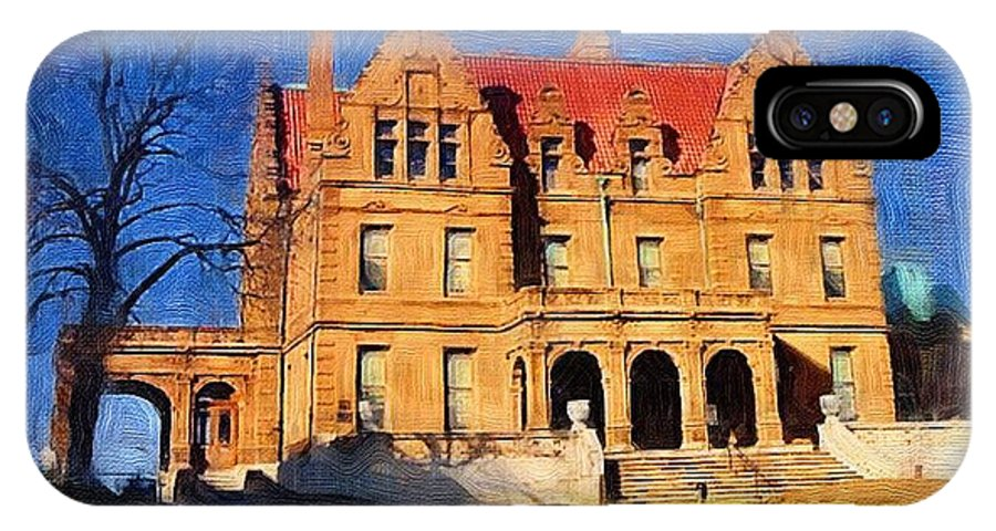 Architecture IPhone Case featuring the digital art Pabst Mansion by Anita Burgermeister
