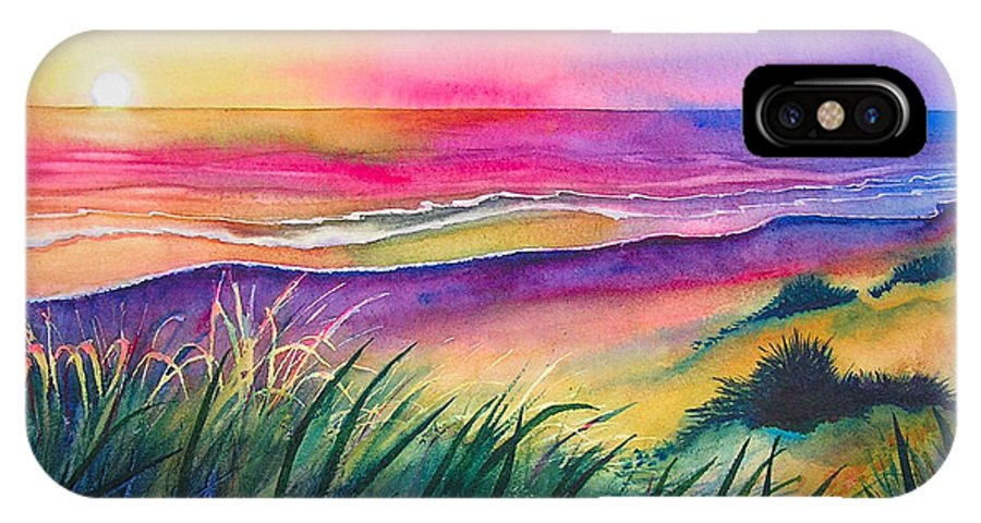 Pacific IPhone X Case featuring the painting Pacific Evening by Karen Stark