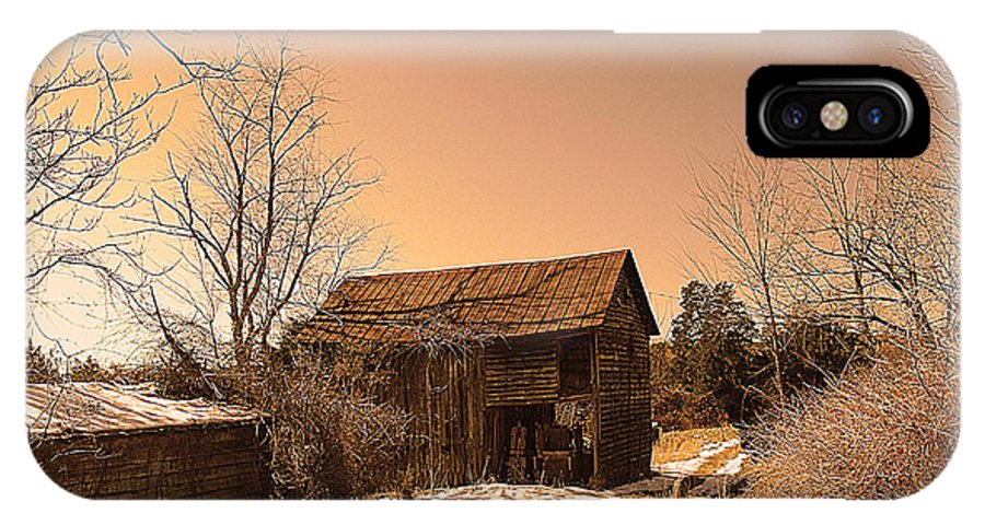 Packing Barn IPhone X Case featuring the photograph Packing Barn In Winter by Patricia Motley