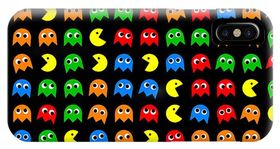 Pacman IPhone X / XS Case featuring the digital art Pacman Seamless Generated Pattern by Miroslav Nemecek