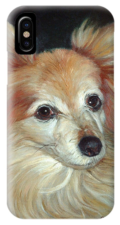 Pet Portraits IPhone X Case featuring the painting Paco The Papillion by Portraits By NC