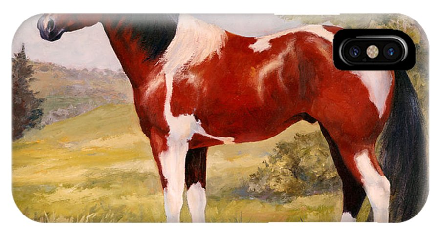 Paint IPhone X Case featuring the painting Paint Horse Gelding Portrait Oil Painting - Gizmo by Kim Corpany