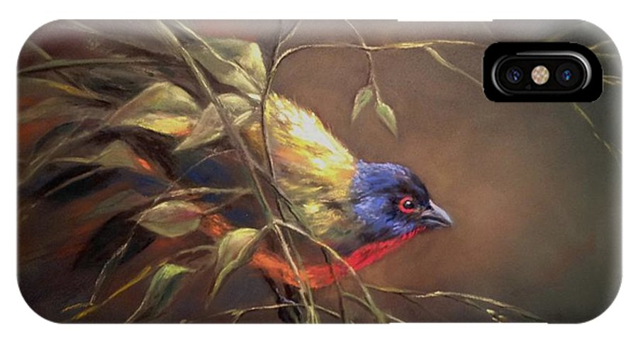 Bird IPhone X Case featuring the pastel Painted Bunting by Ruth Stromswold