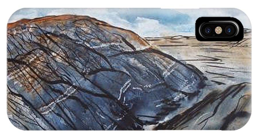 Plein Air IPhone X / XS Case featuring the painting Painted Desert Landscape Mountain Desert Fine Art by Derek Mccrea