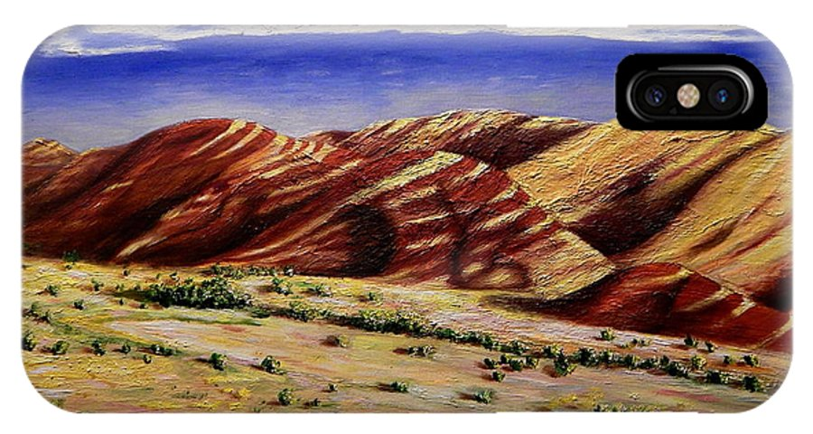 Landscape IPhone X Case featuring the painting Painted Hills by Lisa Rose Musselwhite
