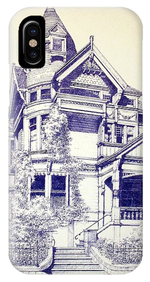 Victorian Mansions Houses Architecture Homessan Francisco IPhone X Case featuring the painting Painted Lady by Tony Ruggiero